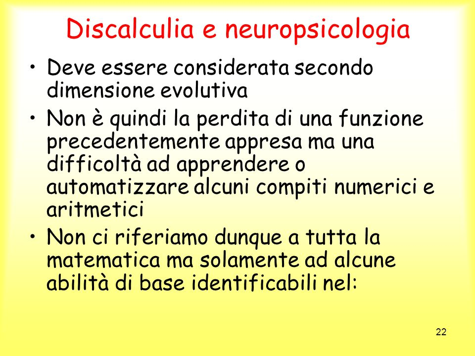 Discalculia e neuropsicologia