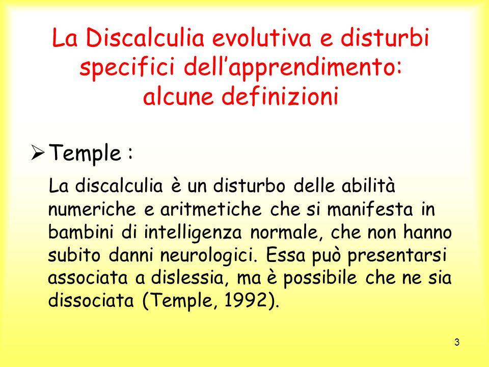 La Discalculia evolutiva e disturbi specifici dell'apprendimento: alcune definizioni