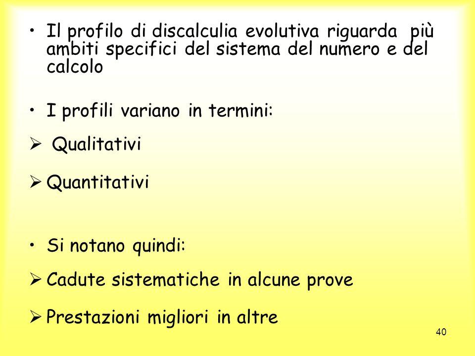 Il profilo di discalculia evolutiva riguarda più ambiti specifici del sistema del numero e del calcolo