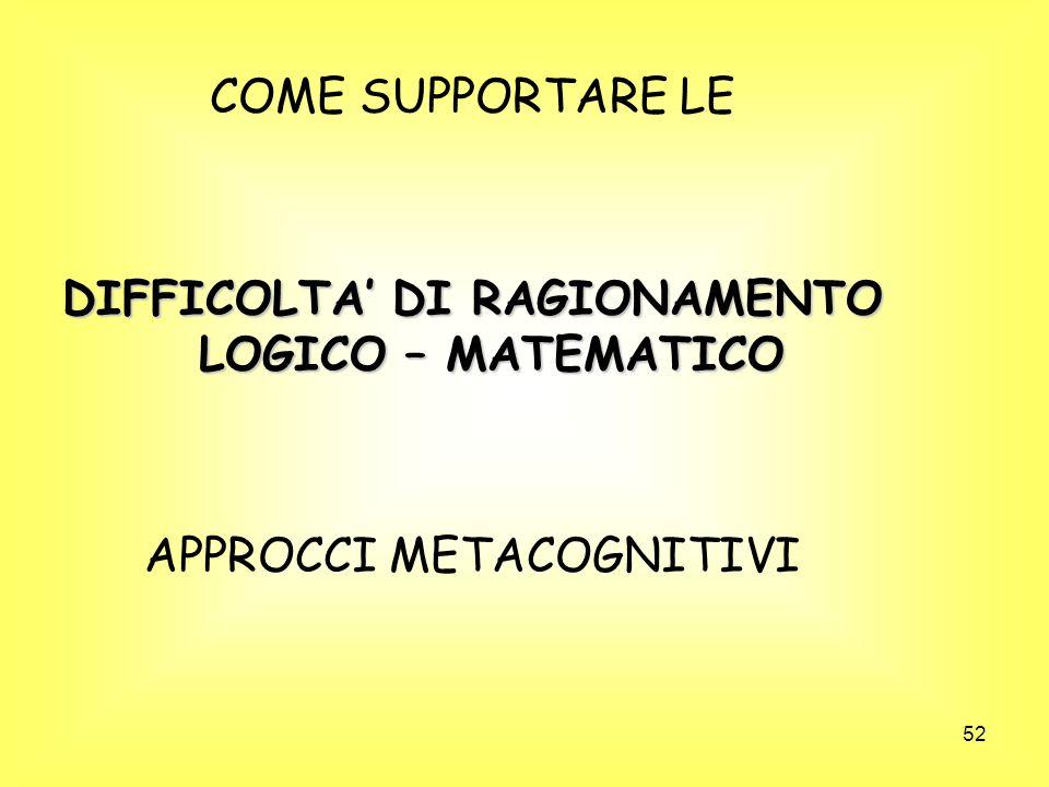 DIFFICOLTA' DI RAGIONAMENTO LOGICO – MATEMATICO