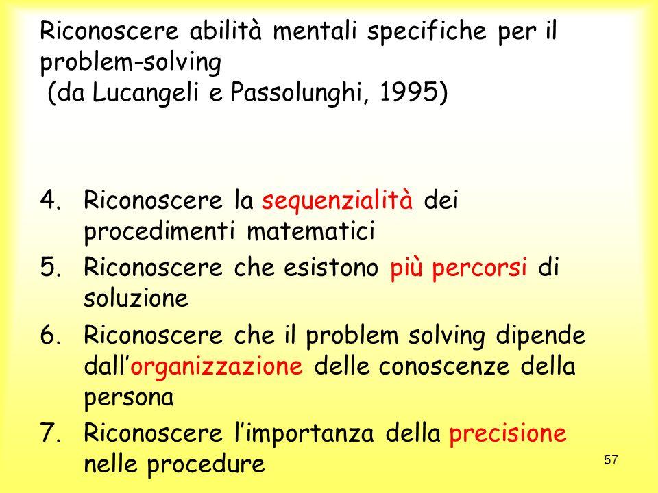 Riconoscere abilità mentali specifiche per il problem-solving (da Lucangeli e Passolunghi, 1995)