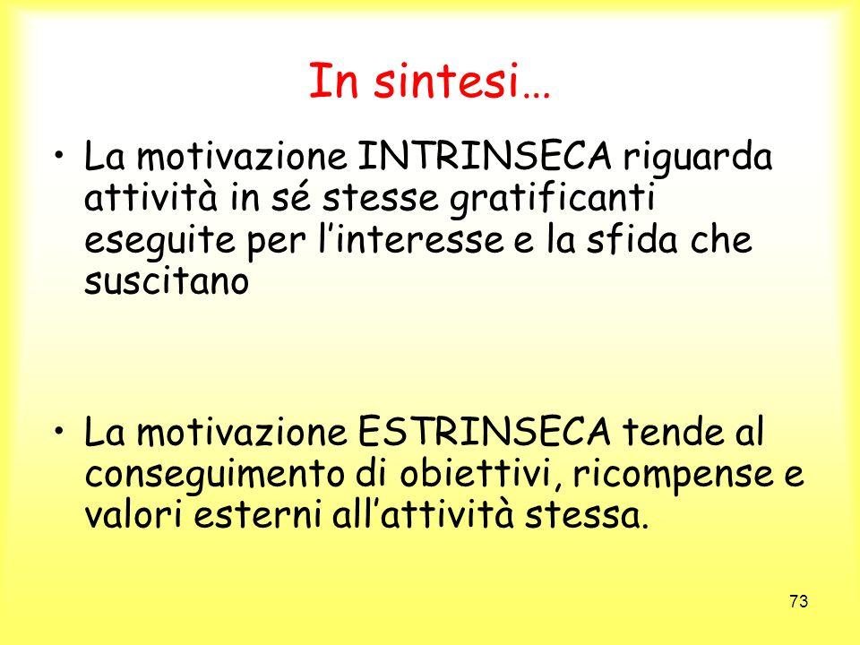 In sintesi…La motivazione INTRINSECA riguarda attività in sé stesse gratificanti eseguite per l'interesse e la sfida che suscitano.