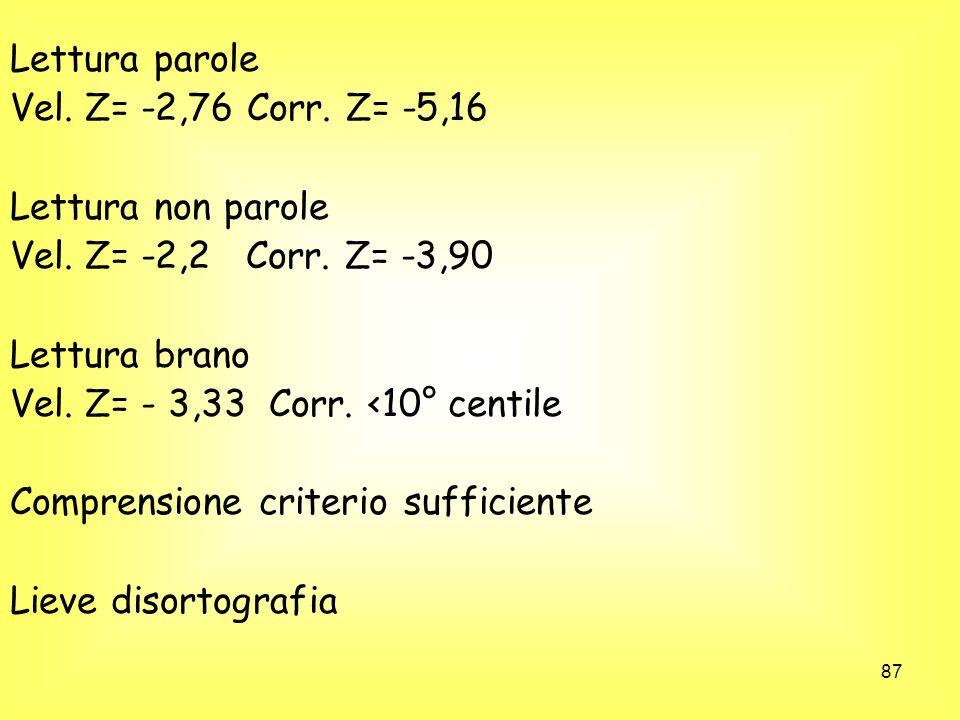 Lettura parole Vel. Z= -2,76 Corr. Z= -5,16. Lettura non parole. Vel. Z= -2,2 Corr. Z= -3,90. Lettura brano.