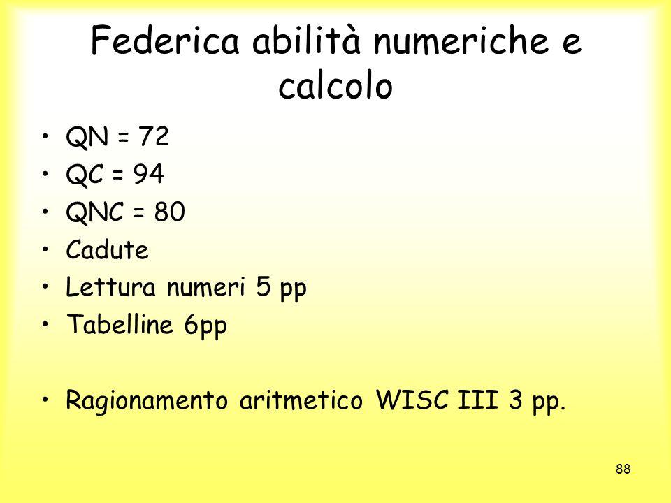Federica abilità numeriche e calcolo