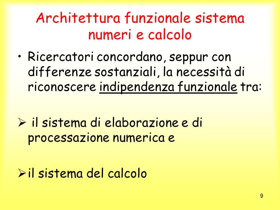 Architettura funzionale sistema numeri e calcolo