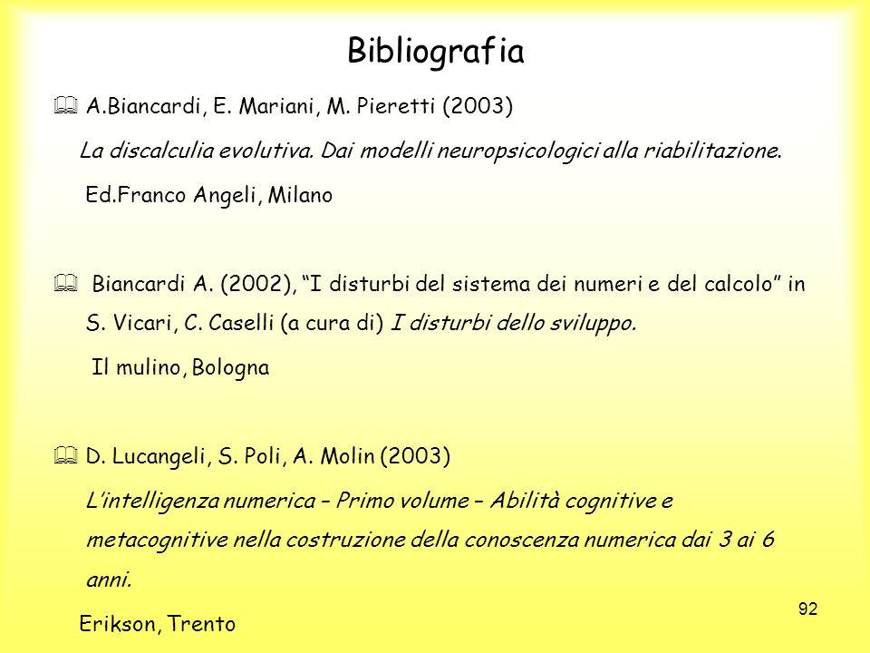 Bibliografia A.Biancardi, E. Mariani, M. Pieretti (2003)