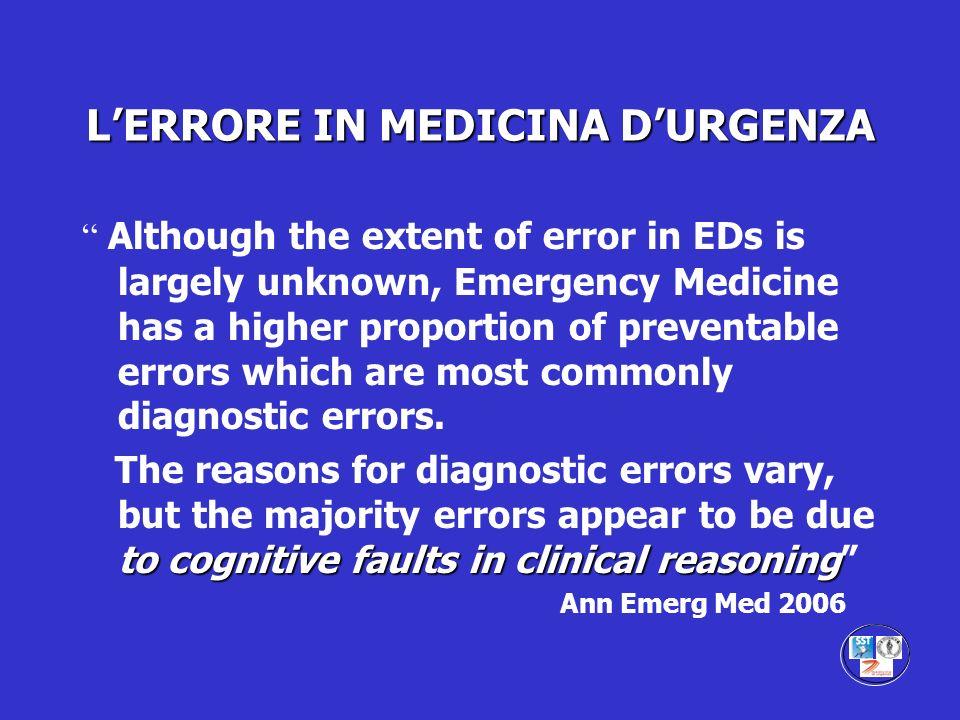 L'ERRORE IN MEDICINA D'URGENZA
