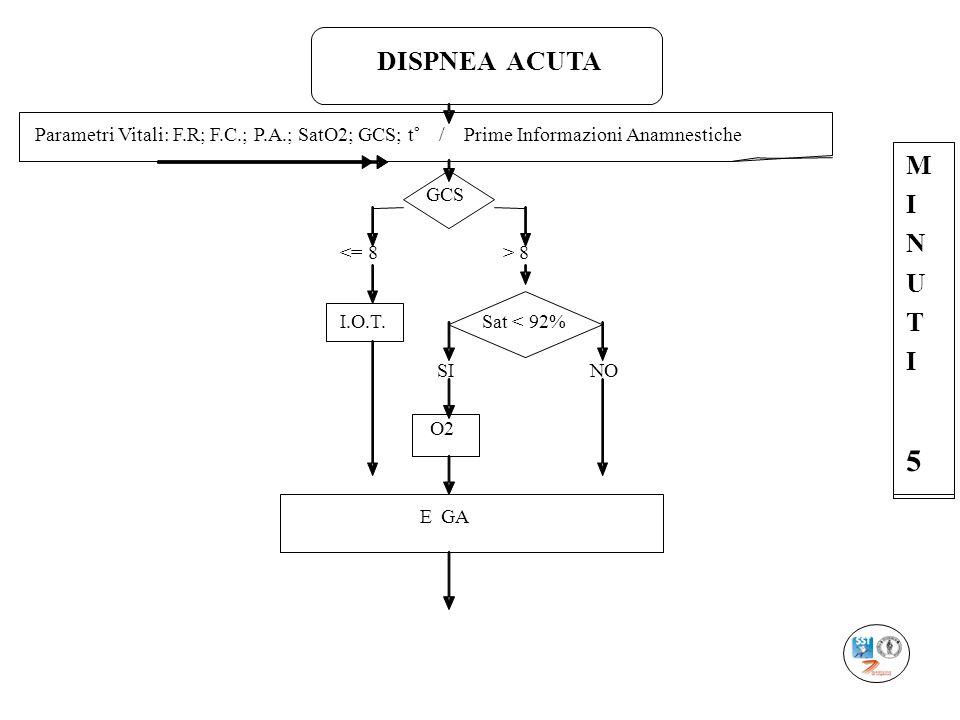 DISPNEA ACUTAParametri Vitali: F.R; F.C.; P.A.; SatO2; GCS; t° / Prime Informazioni Anamnestiche.