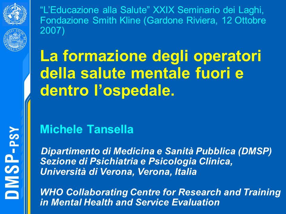 L'Educazione alla Salute XXIX Seminario dei Laghi, Fondazione Smith Kline (Gardone Riviera, 12 Ottobre 2007)