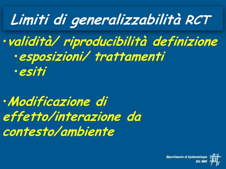 Limiti di generalizzabilità RCT