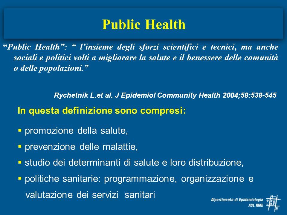 Public Health In questa definizione sono compresi: