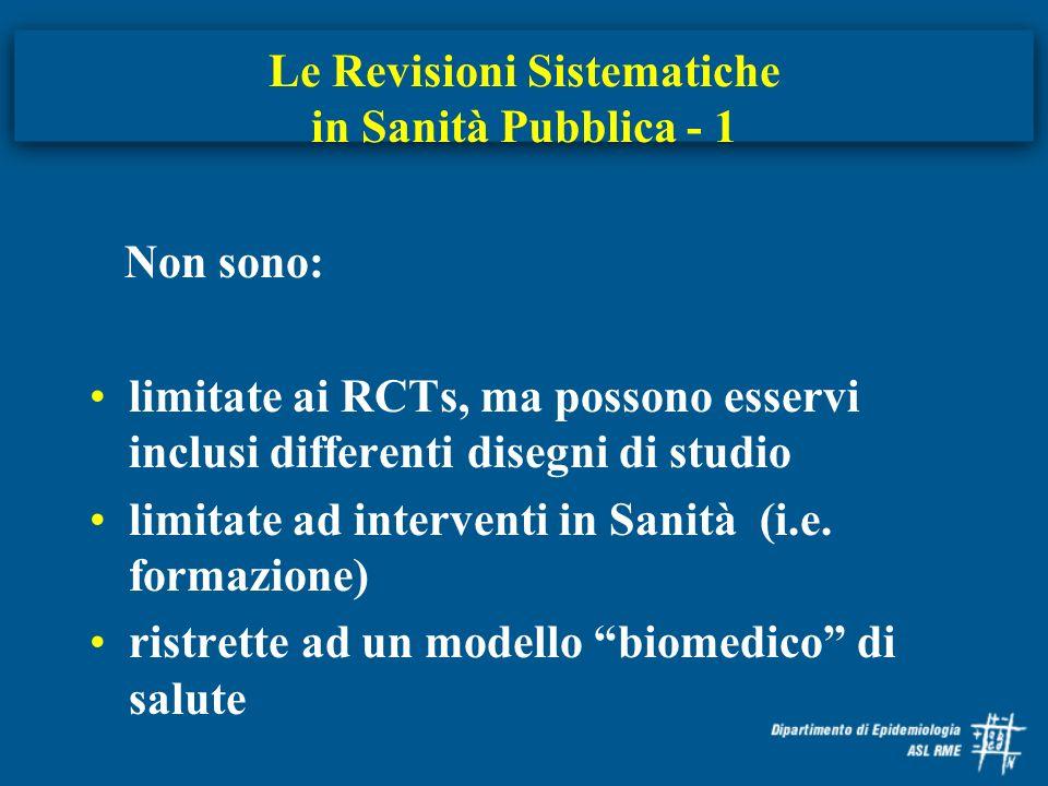 Le Revisioni Sistematiche in Sanità Pubblica - 1