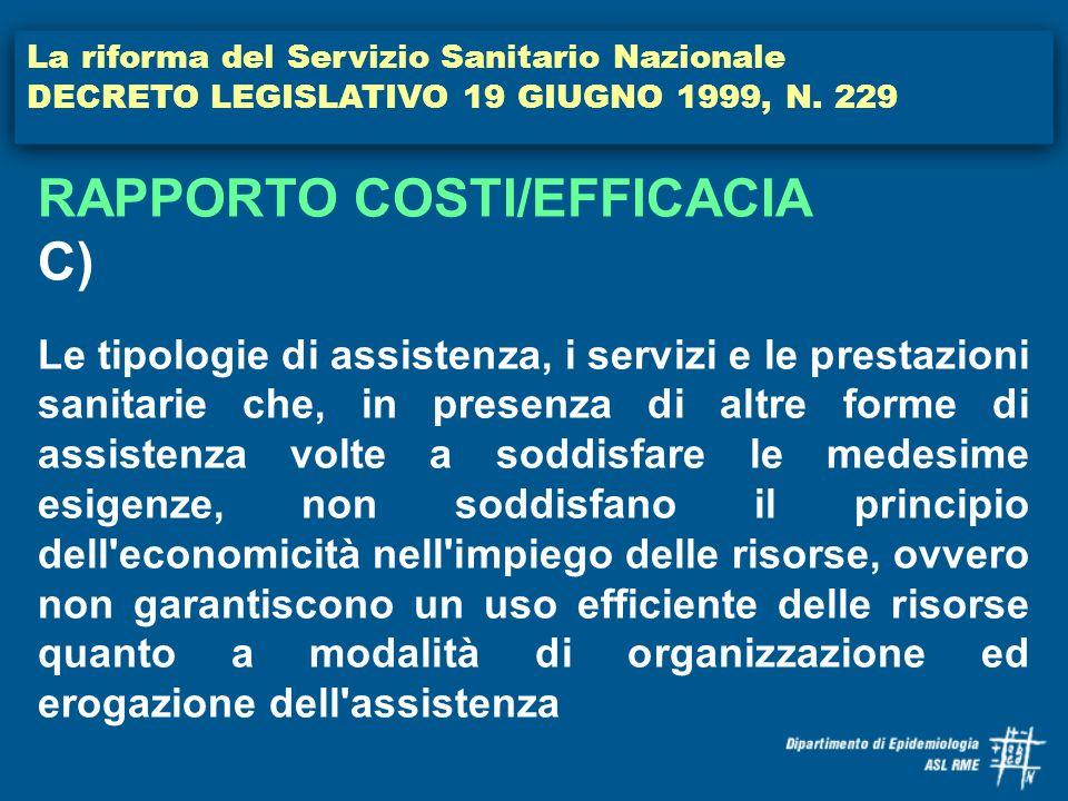 RAPPORTO COSTI/EFFICACIA C)