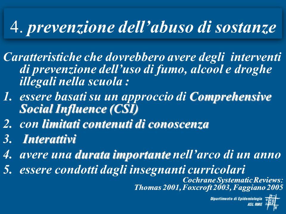 4. prevenzione dell'abuso di sostanze