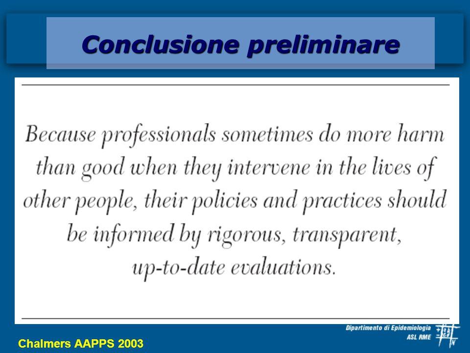 Conclusione preliminare