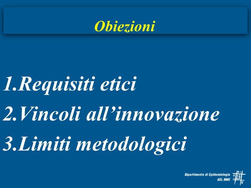 Vincoli all'innovazione Limiti metodologici