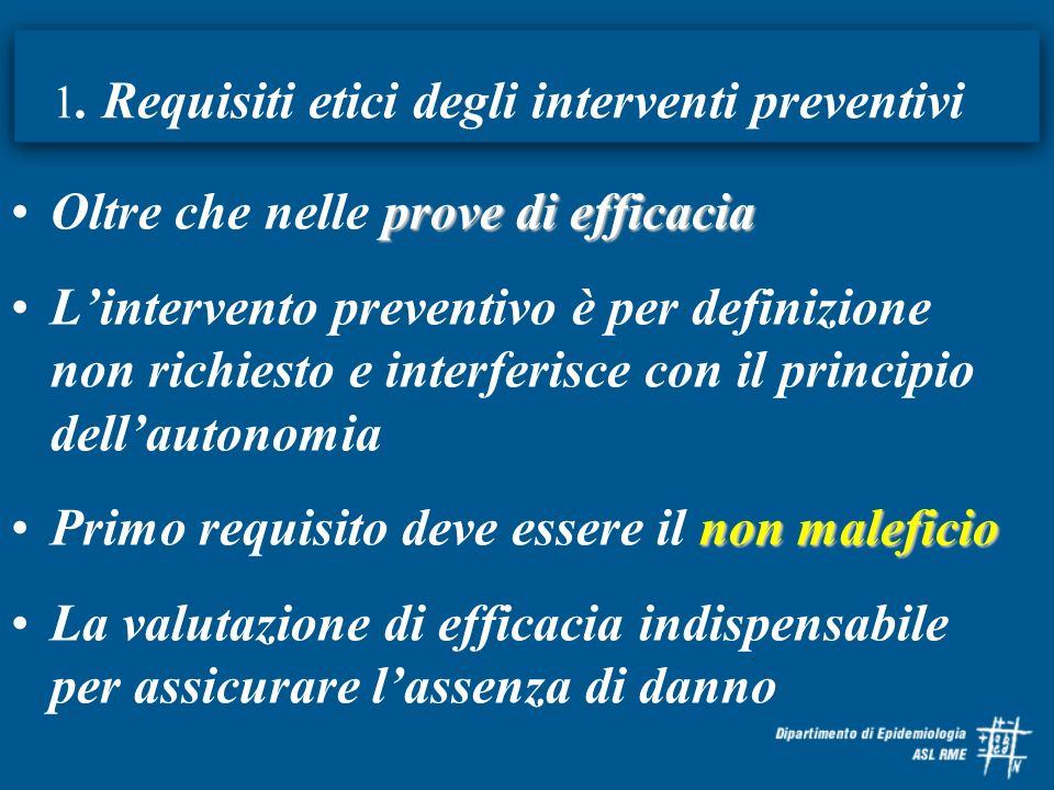 1. Requisiti etici degli interventi preventivi
