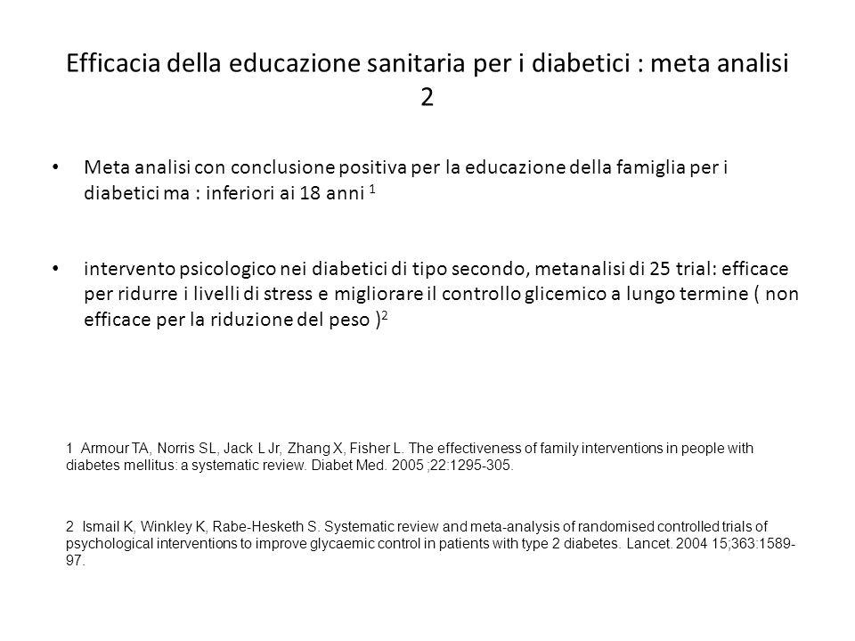 Efficacia della educazione sanitaria per i diabetici : meta analisi 2