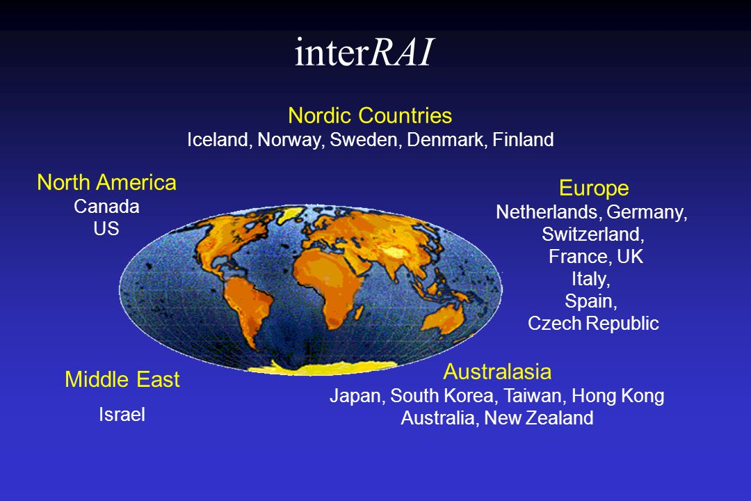 interRAI Nordic Countries North America Canada Europe Australasia