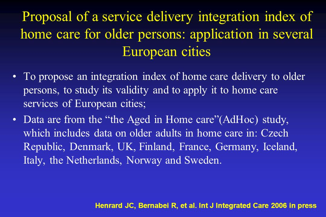 Proposal of a service delivery integration index of home care for older persons: application in several European cities