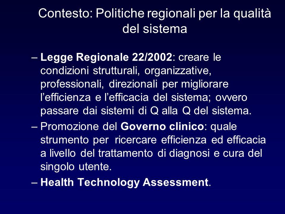 Contesto: Politiche regionali per la qualità del sistema