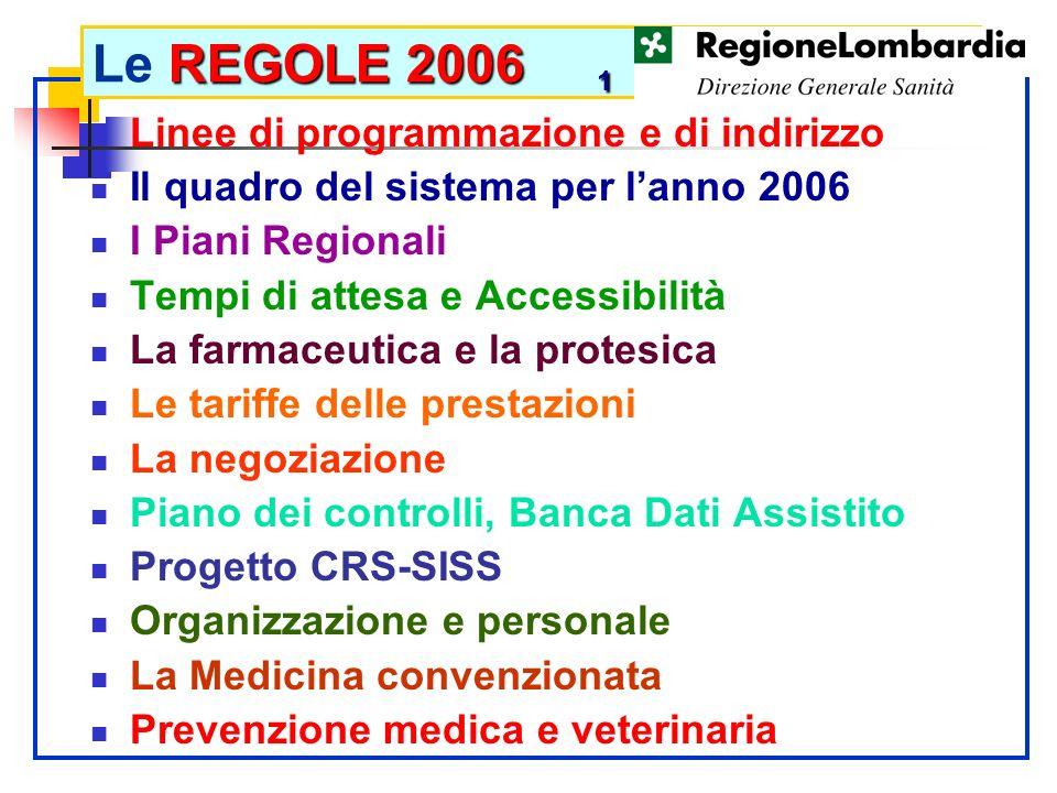 Le REGOLE 2006 1 Linee di programmazione e di indirizzo
