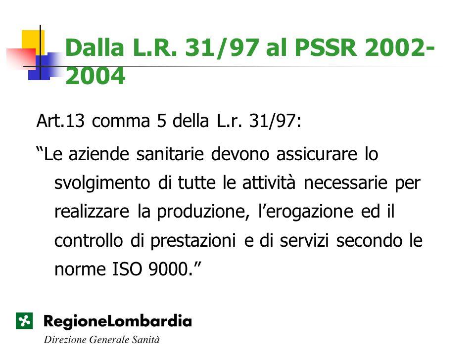 Dalla L.R. 31/97 al PSSR 2002-2004 Art.13 comma 5 della L.r. 31/97: