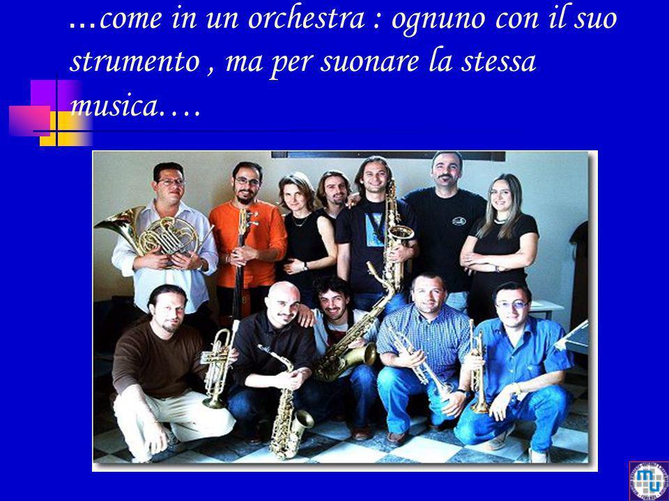 …come in un orchestra : ognuno con il suo strumento , ma per suonare la stessa musica….