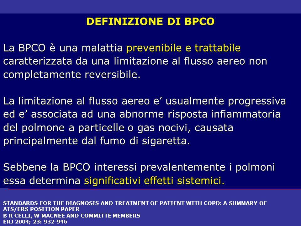 DEFINIZIONE DI BPCO La BPCO è una malattia prevenibile e trattabile caratterizzata da una limitazione al flusso aereo non completamente reversibile.