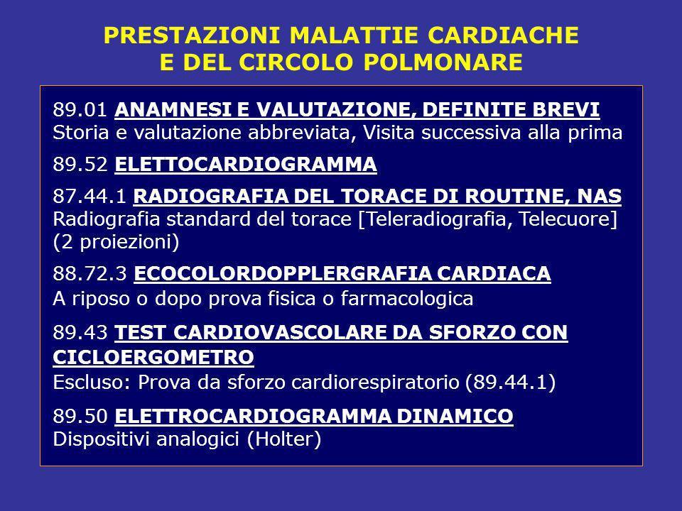 PRESTAZIONI MALATTIE CARDIACHE E DEL CIRCOLO POLMONARE