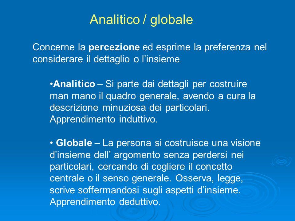 Analitico / globale Concerne la percezione ed esprime la preferenza nel considerare il dettaglio o l'insieme.