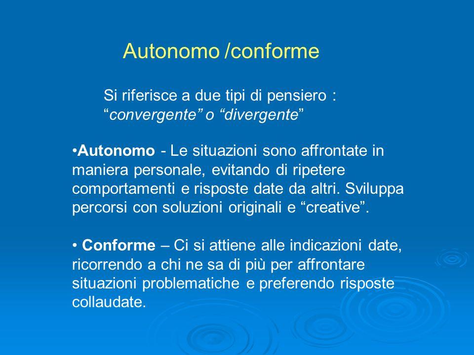 Autonomo /conforme Si riferisce a due tipi di pensiero : convergente o divergente