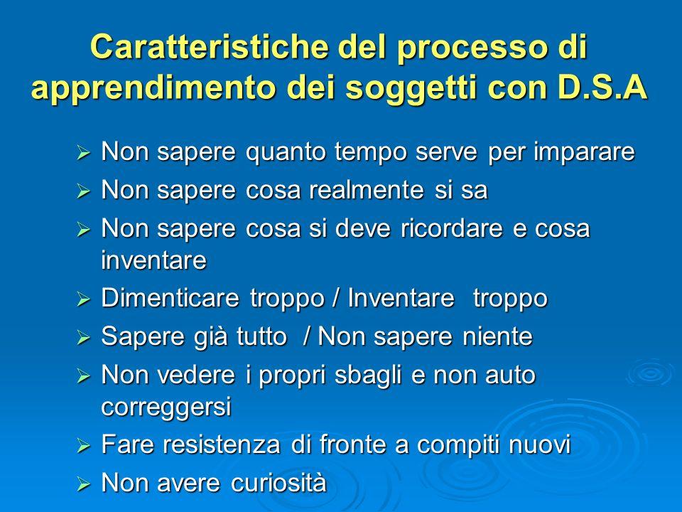 Caratteristiche del processo di apprendimento dei soggetti con D.S.A