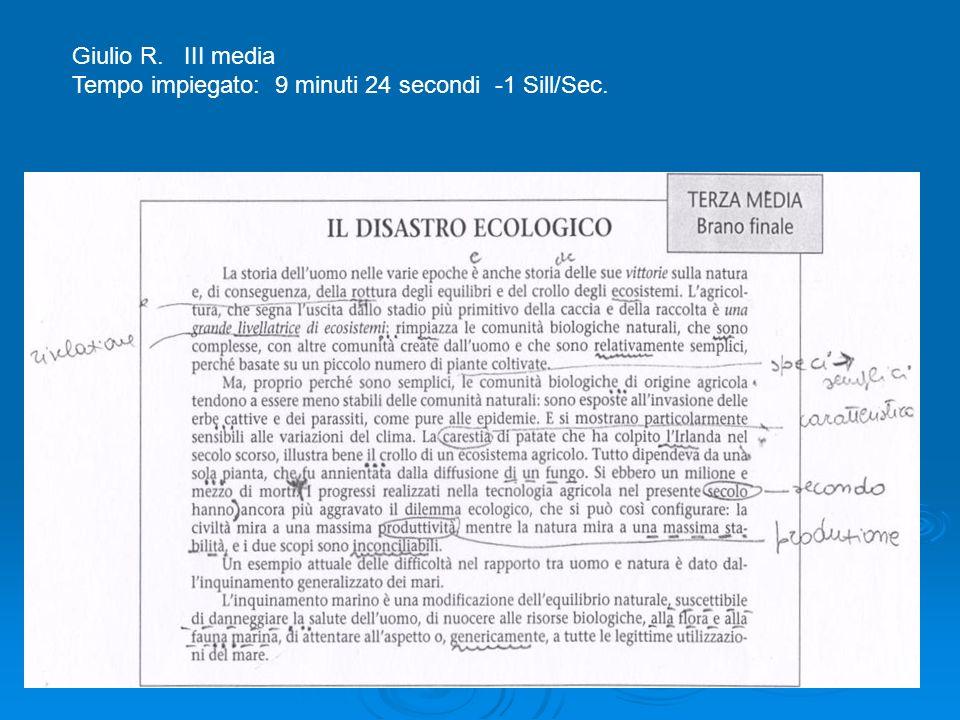Giulio R. III media Tempo impiegato: 9 minuti 24 secondi -1 Sill/Sec.