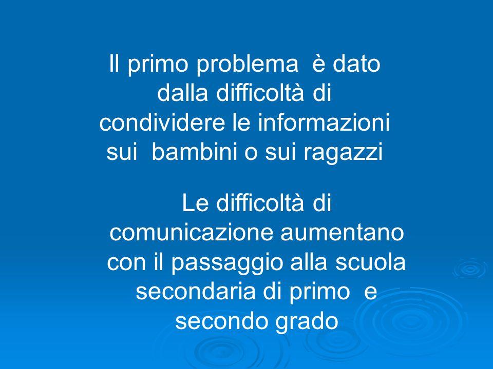 Il primo problema è dato dalla difficoltà di condividere le informazioni sui bambini o sui ragazzi