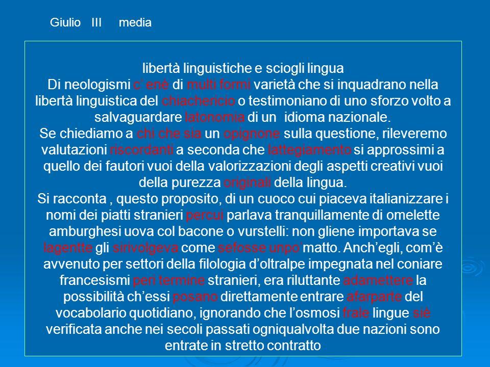 libertà linguistiche e sciogli lingua