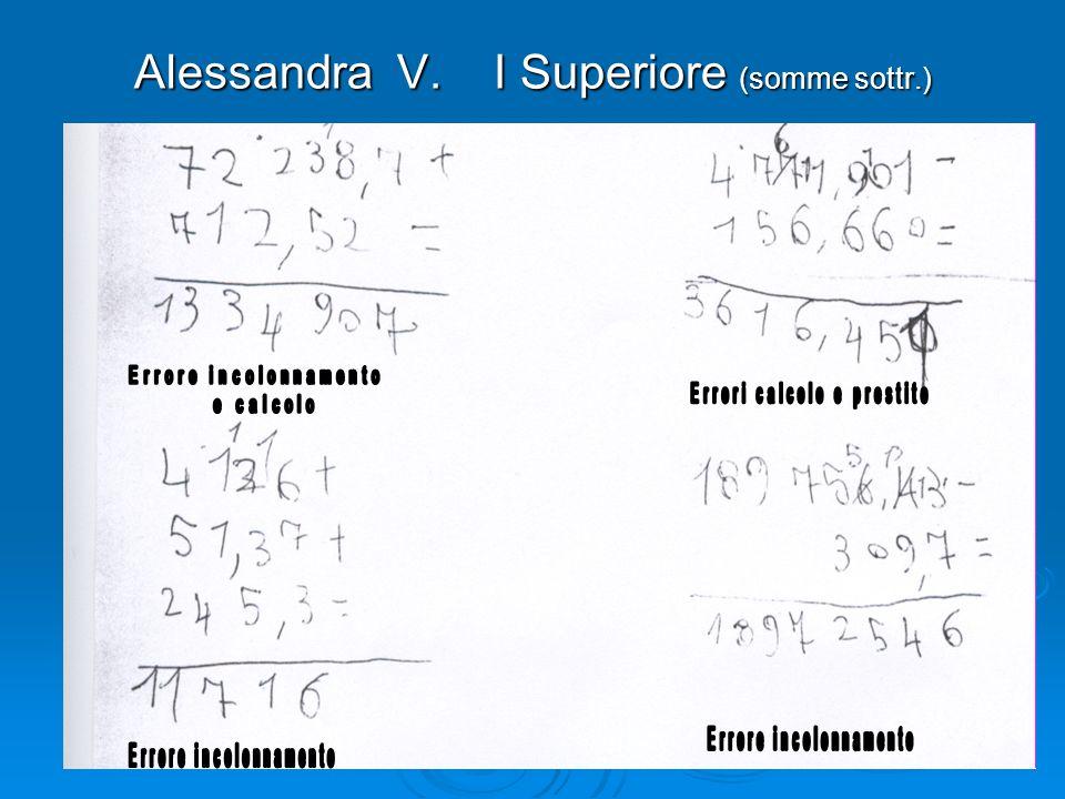 Alessandra V. I Superiore (somme sottr.)