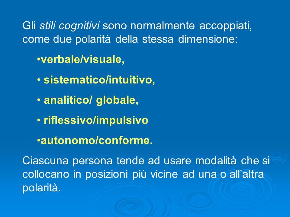 Gli stili cognitivi sono normalmente accoppiati, come due polarità della stessa dimensione: