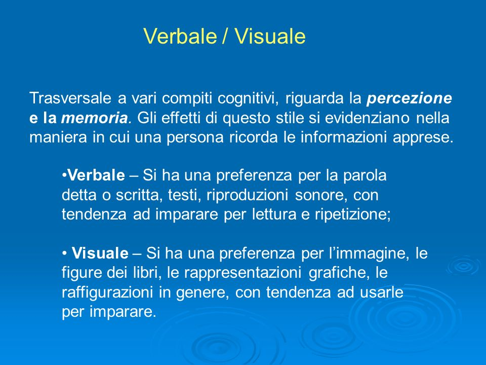 Verbale / Visuale