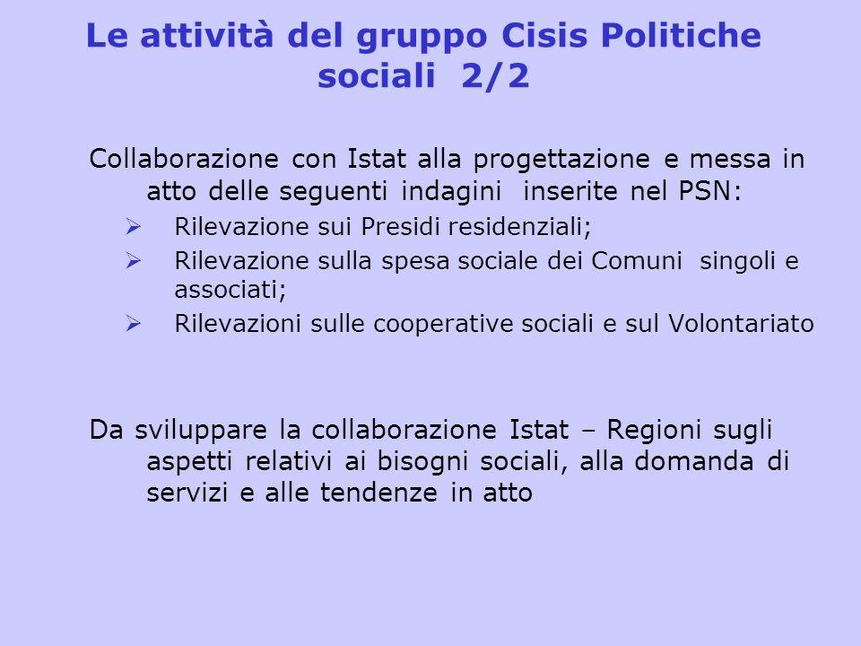 Le attività del gruppo Cisis Politiche sociali 2/2