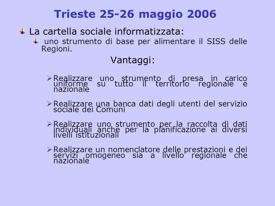 Trieste 25-26 maggio 2006 La cartella sociale informatizzata: