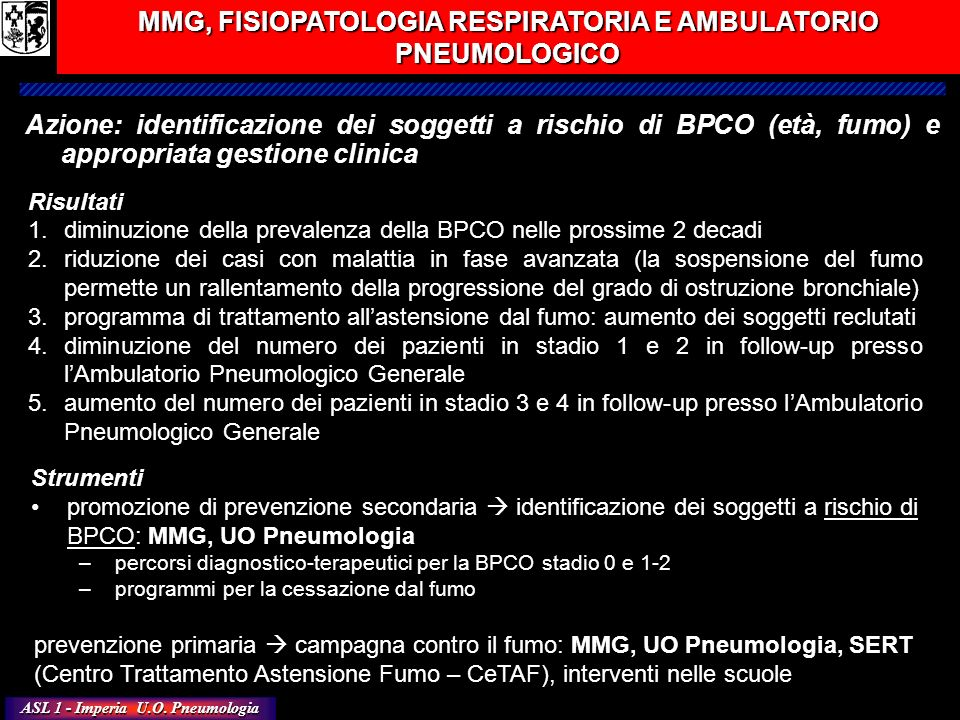MMG, FISIOPATOLOGIA RESPIRATORIA E AMBULATORIO PNEUMOLOGICO