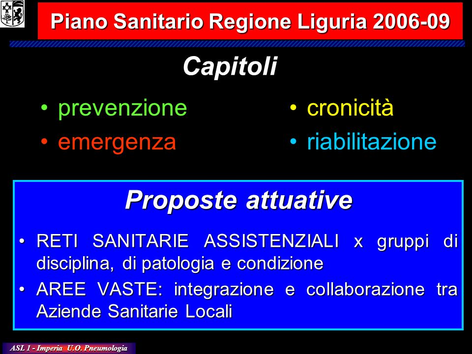 Piano Sanitario Regione Liguria 2006-09