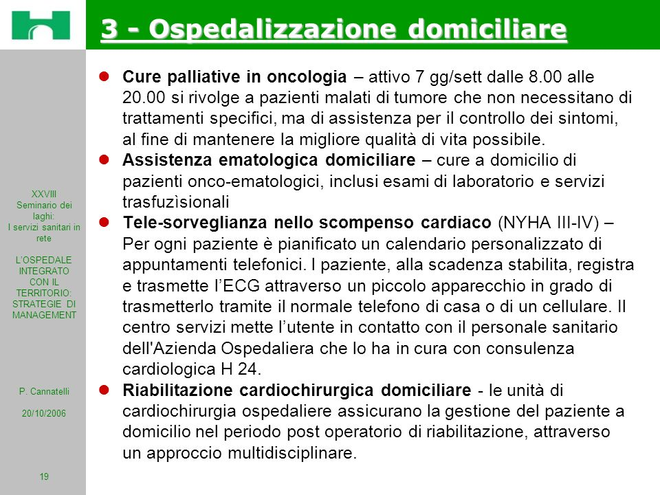 3 - Ospedalizzazione domiciliare