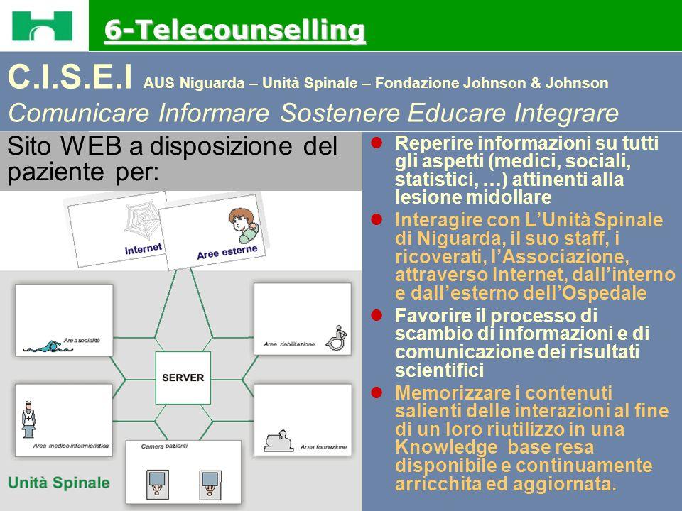 6-Telecounselling C.I.S.E.I AUS Niguarda – Unità Spinale – Fondazione Johnson & Johnson Comunicare Informare Sostenere Educare Integrare.