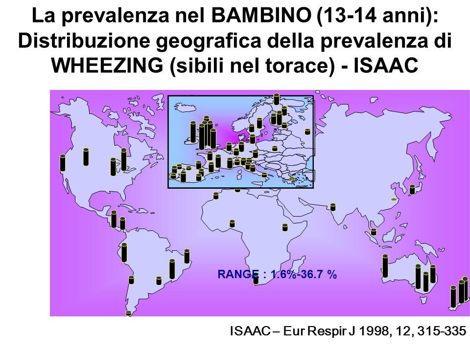 La prevalenza nel BAMBINO (13-14 anni): Distribuzione geografica della prevalenza di WHEEZING (sibili nel torace) - ISAAC
