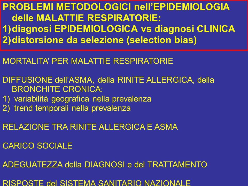 PROBLEMI METODOLOGICI nell'EPIDEMIOLOGIA delle MALATTIE RESPIRATORIE: