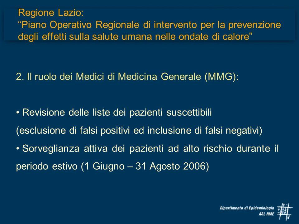 2. Il ruolo dei Medici di Medicina Generale (MMG):