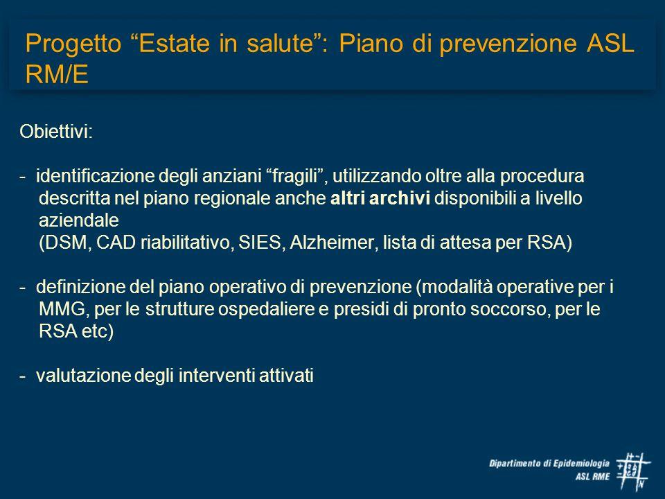 Progetto Estate in salute : Piano di prevenzione ASL RM/E