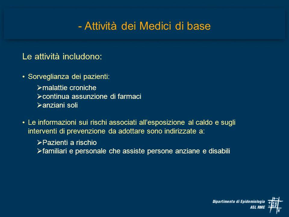 - Attività dei Medici di base